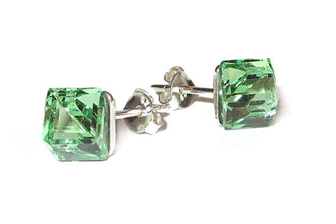 Peridot Green Cube Crystal Stud Earrings