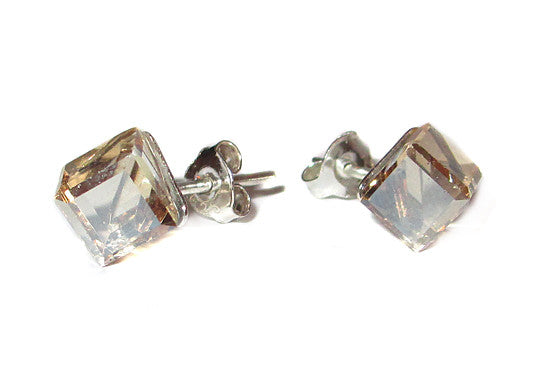 Champagne Cube Crystal Stud Earrings