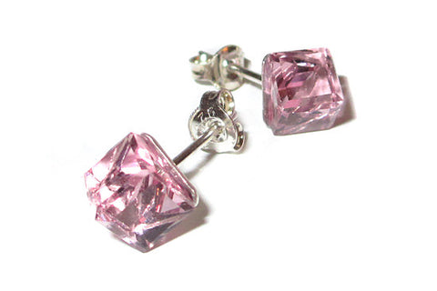 Rose Pink Cube Crystal Stud Earrings
