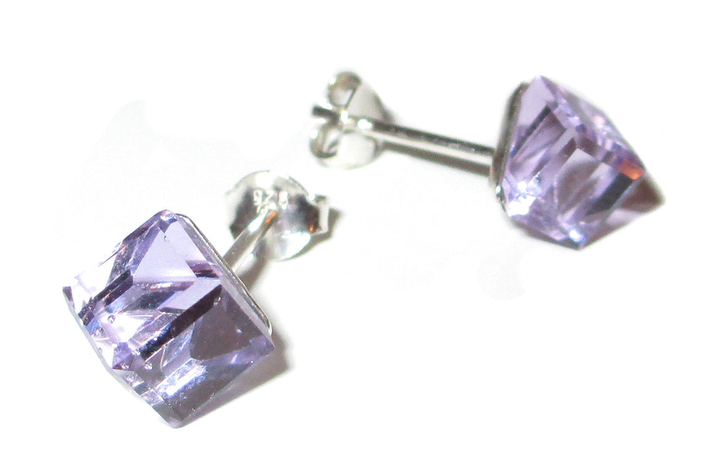 Lilac Purple Cube Crystal Stud Earrings