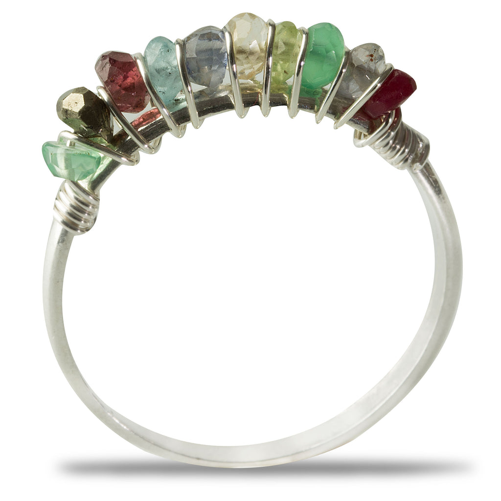 Silver Multi-Colored Gemstone Ring