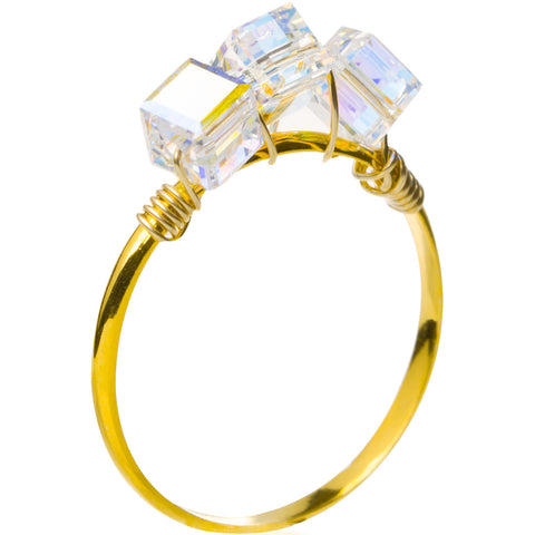 Triple Crystal Cube Ring