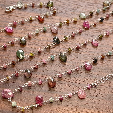 Tourmaline Teardrop Lariat Necklace