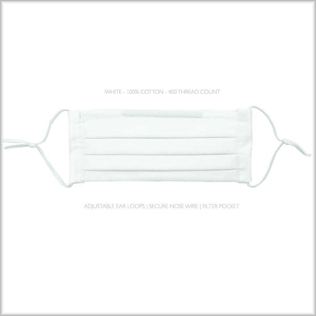 WHITE Cotton Surgical Style Face Mask With Filter and Nose Wire