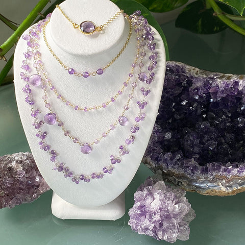 Amethyst Purple Choker Necklaces - Collection 8/8/20