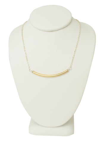 Thin Gold Bar Duo Necklace
