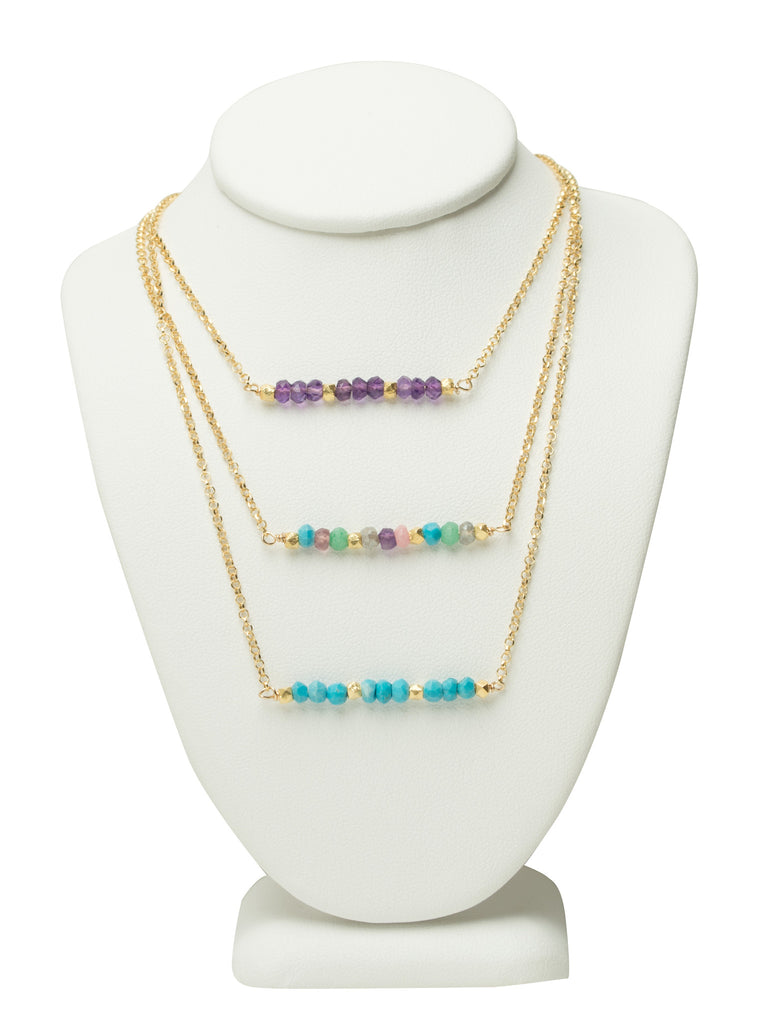 Gemstone Line Necklace