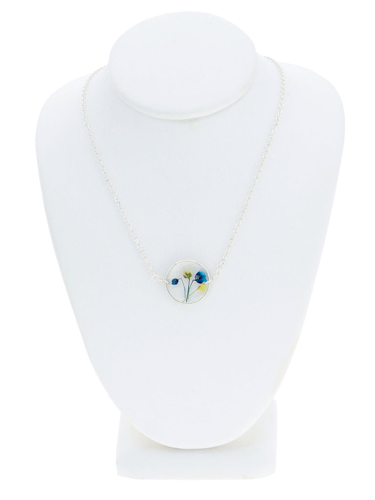 Blue and Yellow Wildflowers Necklace - BG9