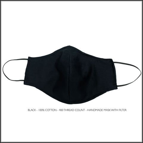 BLACK Cotton Face Mask With Filter and Nose Wire
