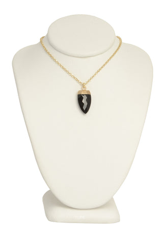 Onyx Tooth Pendant Necklace