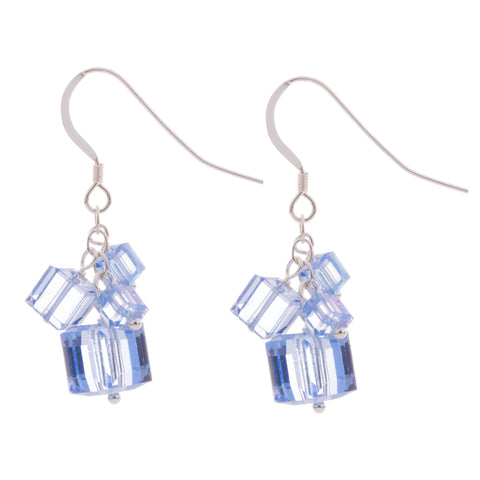 Light Sapphire 4 Swarovski Crystal Cube Earrings