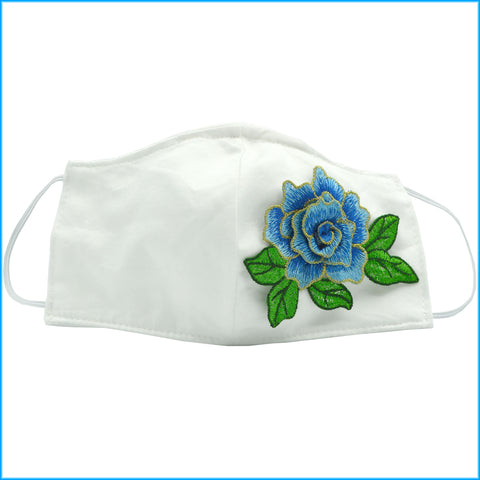 Blue Flower Face Mask With Filter and Nose Wire