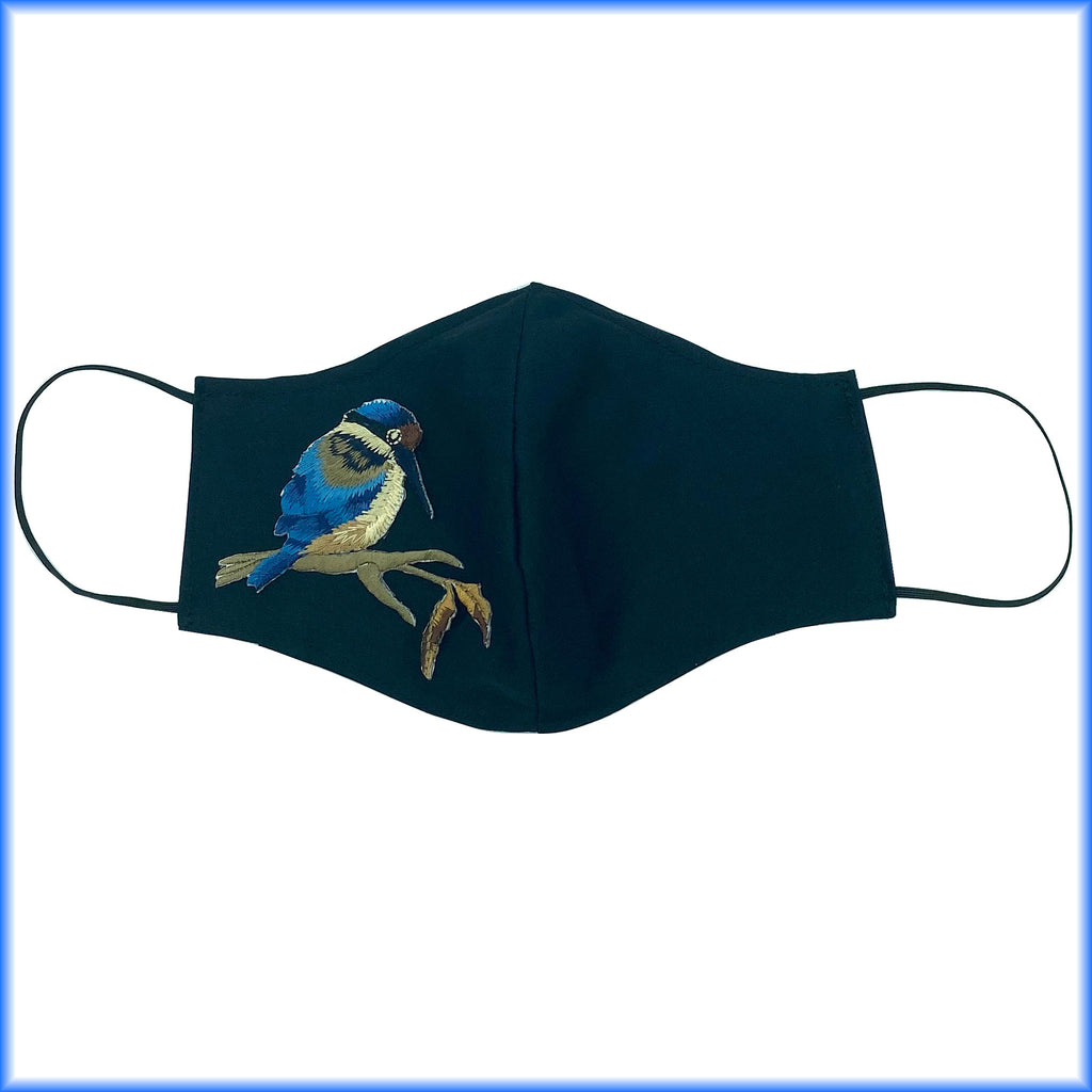Blue Kingfisher Bird Mask with Filter and Nose Wire