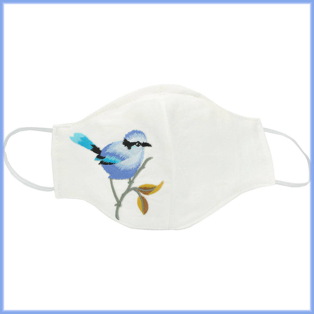 Blue Chickadee Mask With Filter and Nose Wire