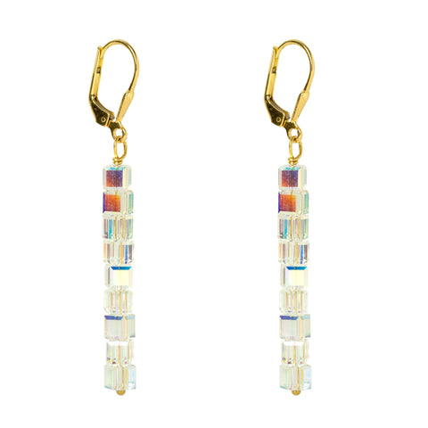 Gold Crystal Line Earrings