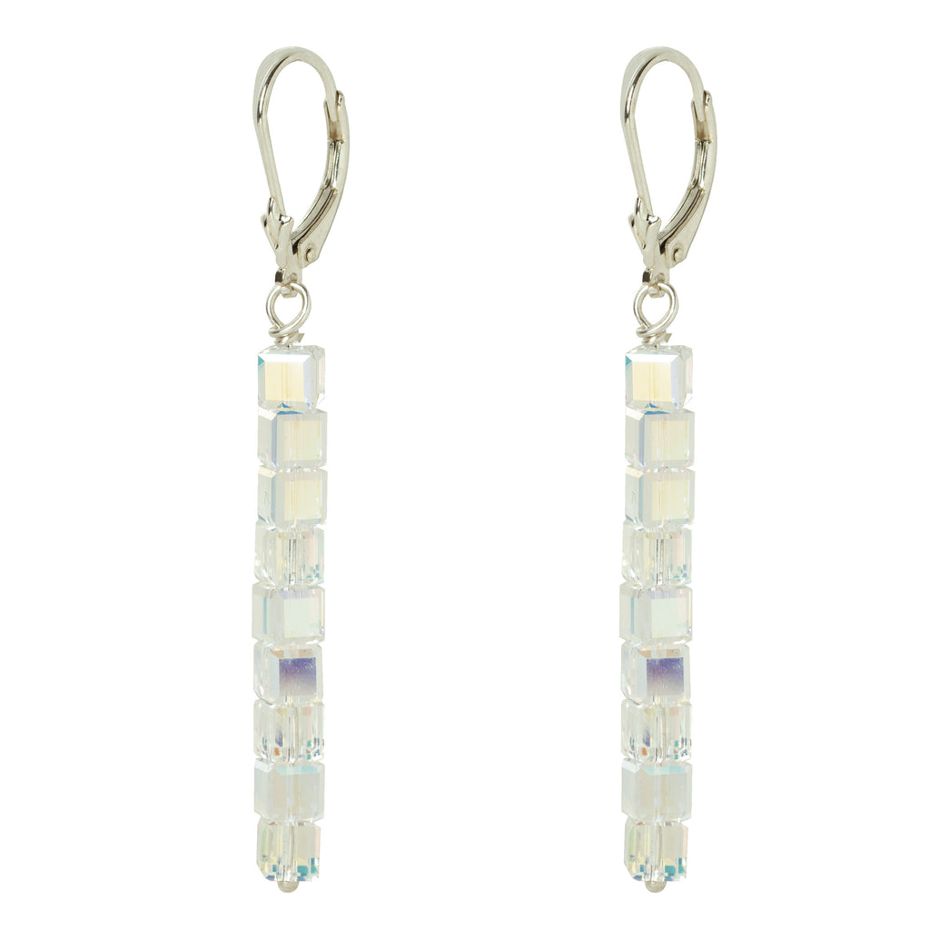 Silver Crystal Line Earrings