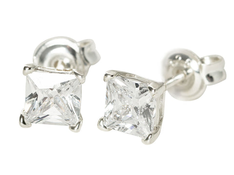 Cube CZ Stud Earrings