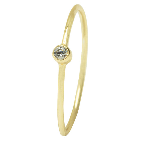 CZ Dot Gold Thin Band Ring