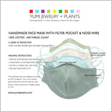 SKY BLUE Cotton Face Mask With Filter and Nose Wire