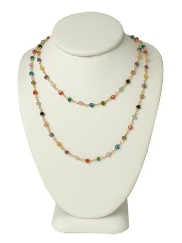 LONG Natural Multi Gemstone Gold Necklace