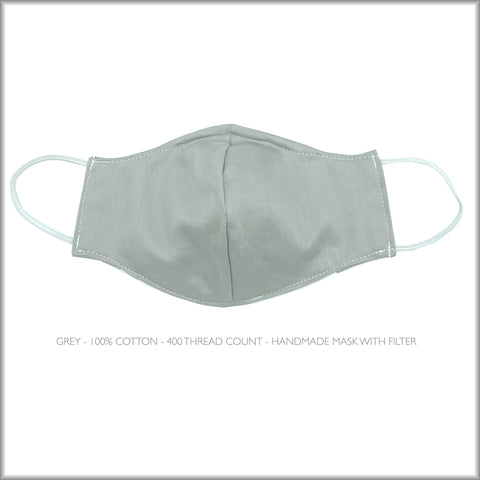 GREY Cotton Face Mask With Filter and Nose Wire