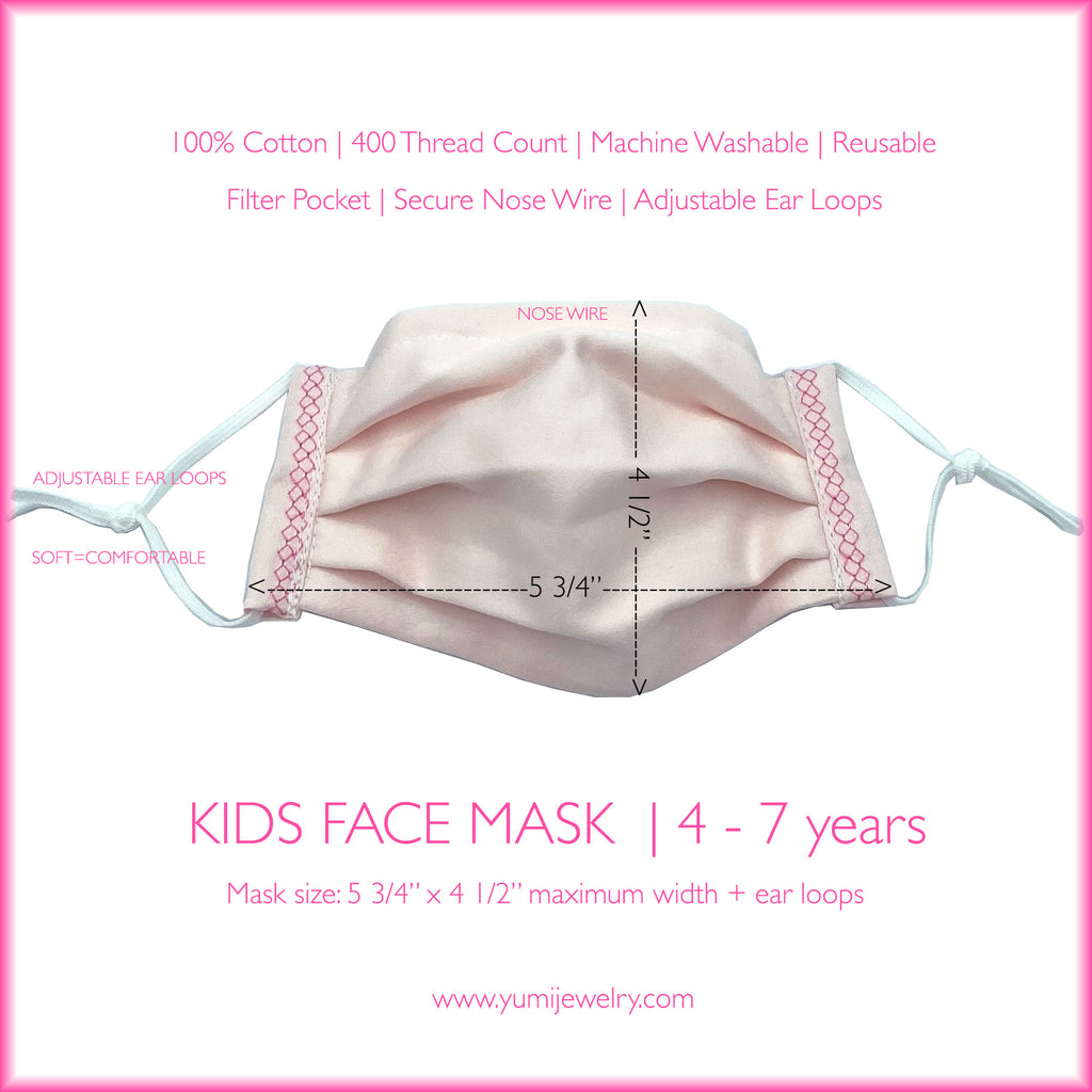 KIDS FACE MASK - HONEYCOMB EMBROIDERY