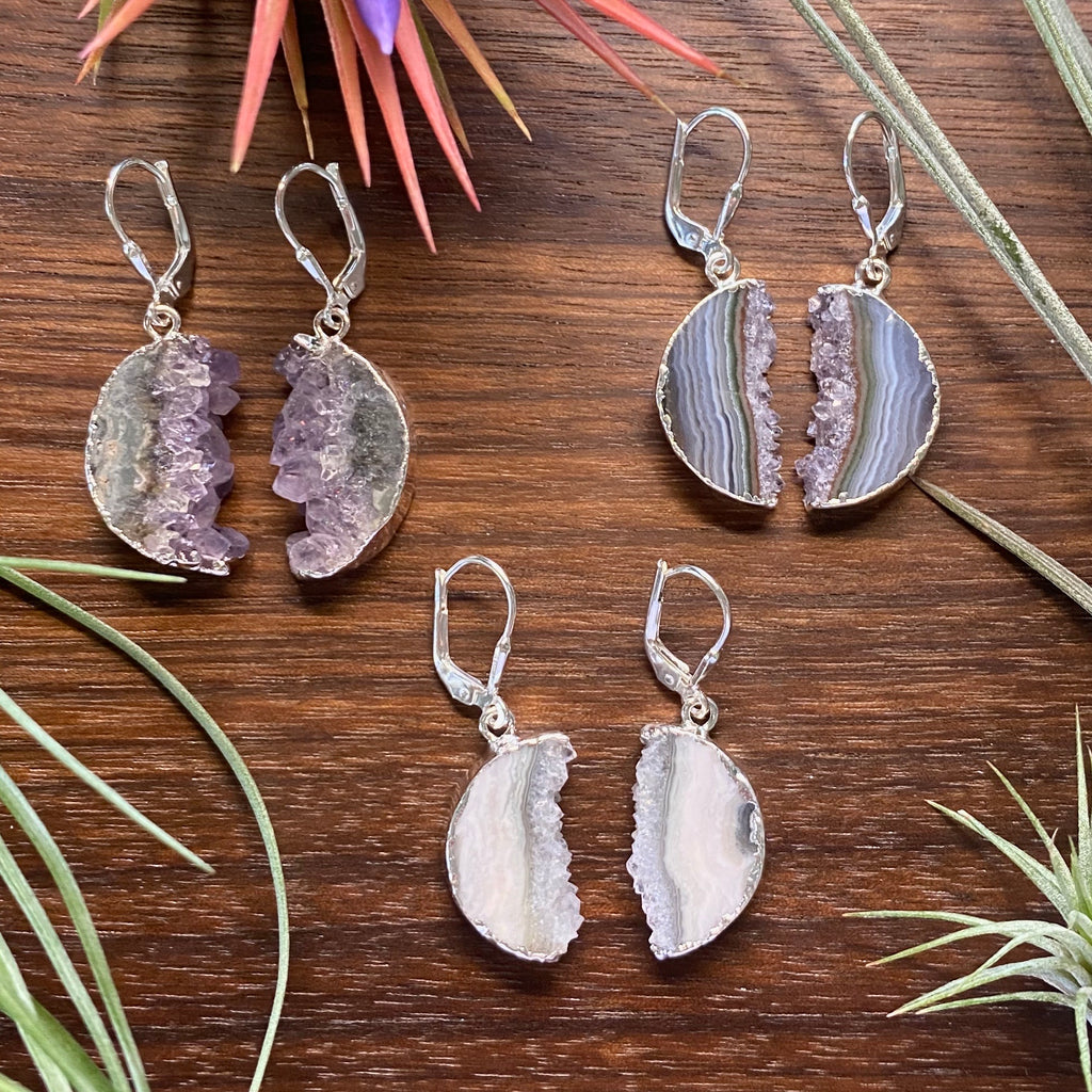 Amethyst Half Moon Earrings
