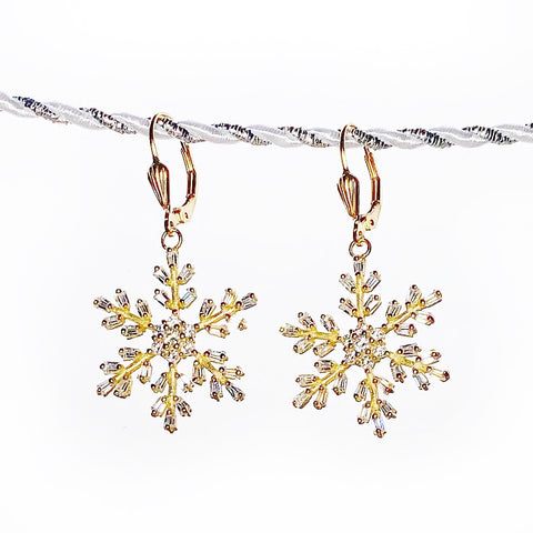Golden Snowflake CZ Earrings