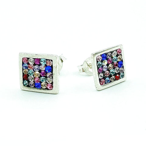 Swarovski Crystal Mosaic Stud Earrings