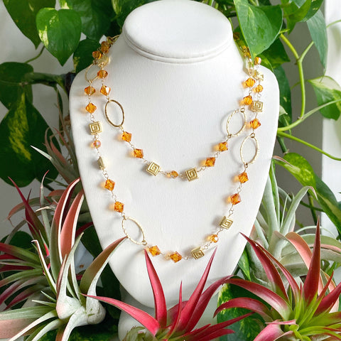 Golden Topaz Crystal Lariat Necklace