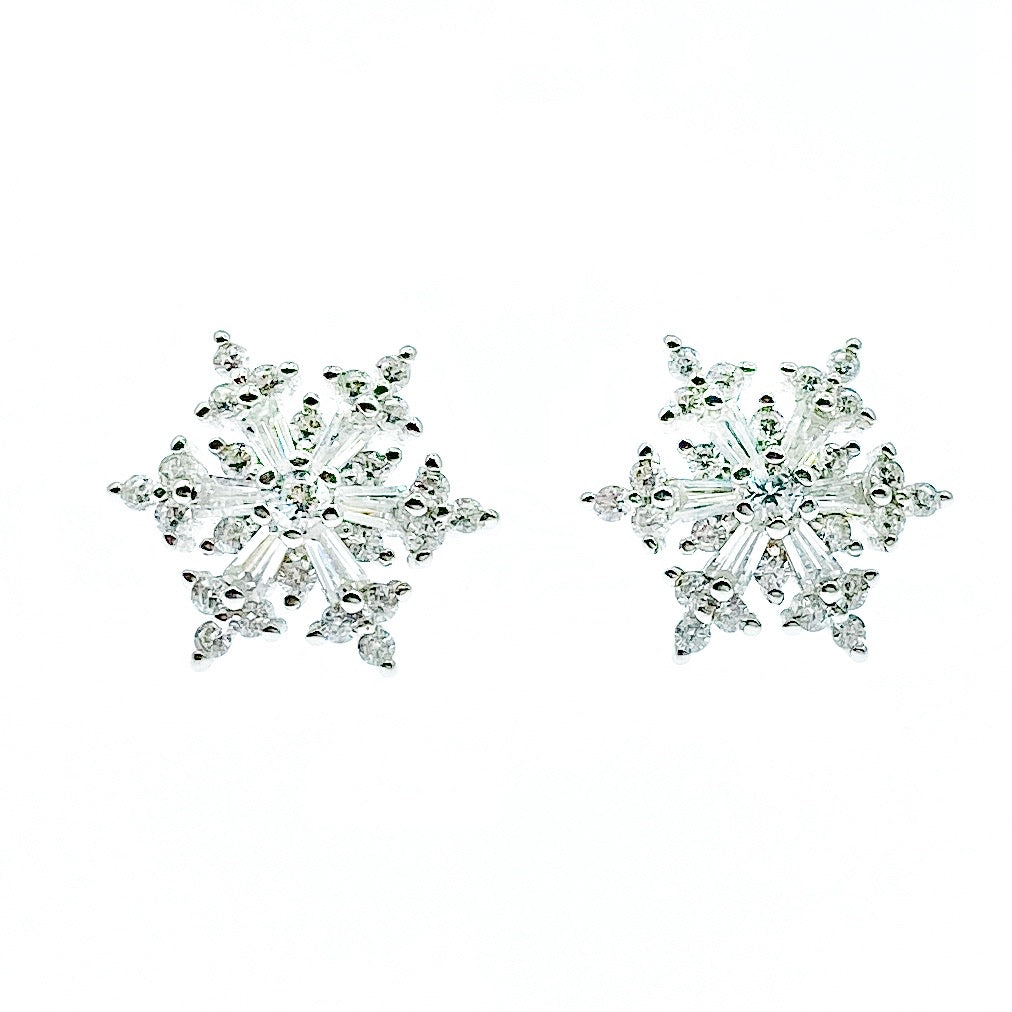Exquisite Sparkling Snowflake Stud Earrings