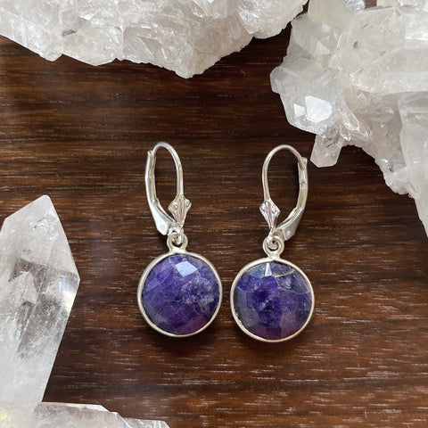 Blue Lapis Bezel Earrings