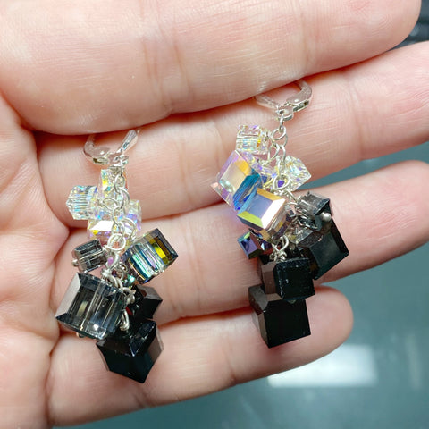 Black/White Swarovski Crystal Charm Earrings