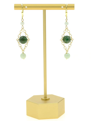 Jade Tri-Colored Diamond Earrings