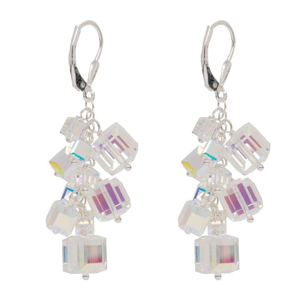Silver Abstract Cubes Charm Earrings