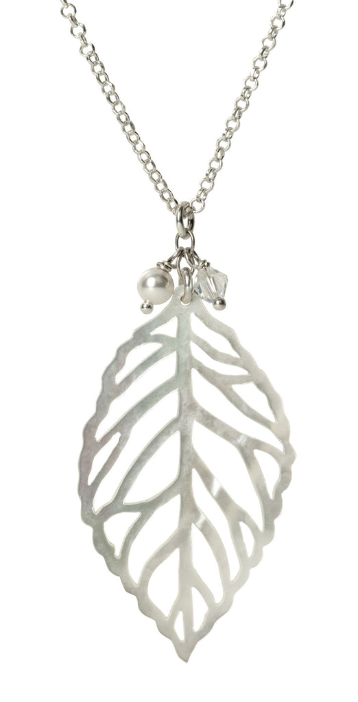 Mother of Pearl Leaf Necklace