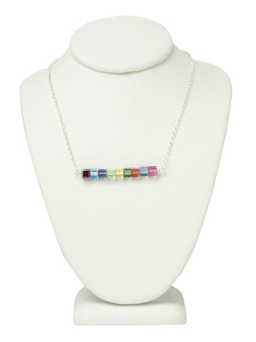 Crystal Logo Bar Necklace