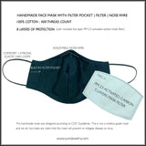3 PACK - Cotton Face Masks With Filter and Nose Wire