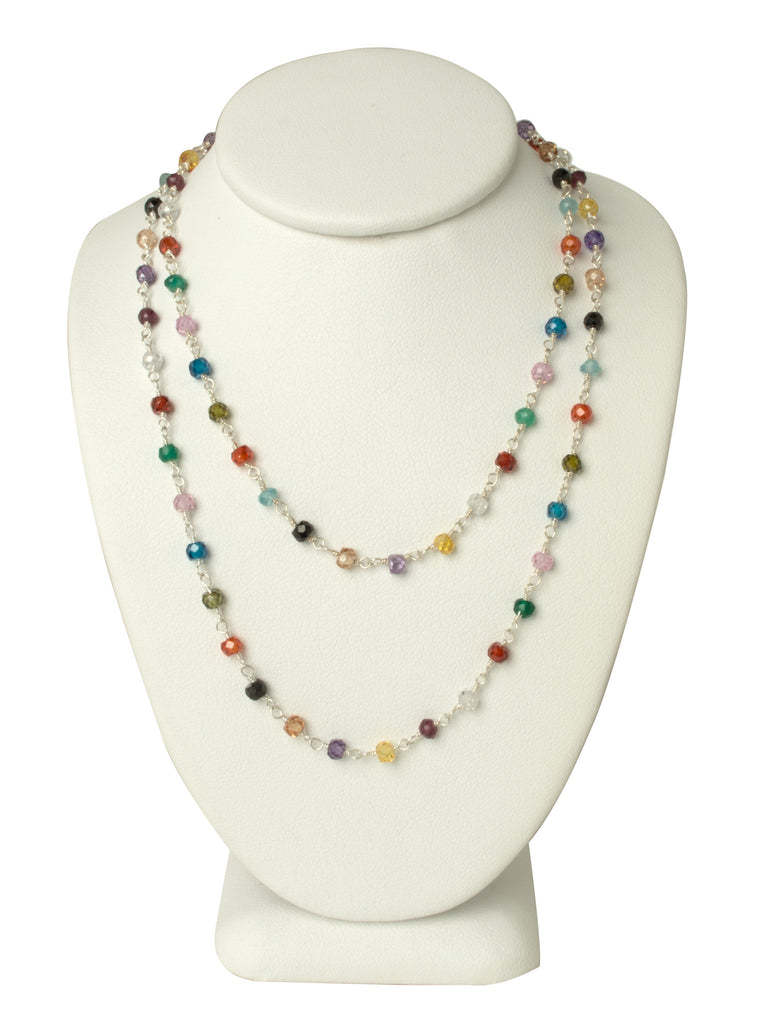 LONG Natural Multi Gemstone Necklace
