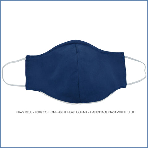 NAVY BLUE Cotton Face Mask With Filter and Nose Wire
