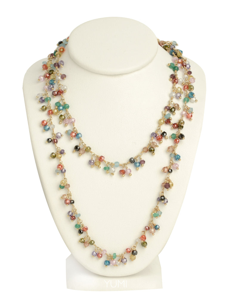 LONG Semi-Precious Gemstone Charm Necklace