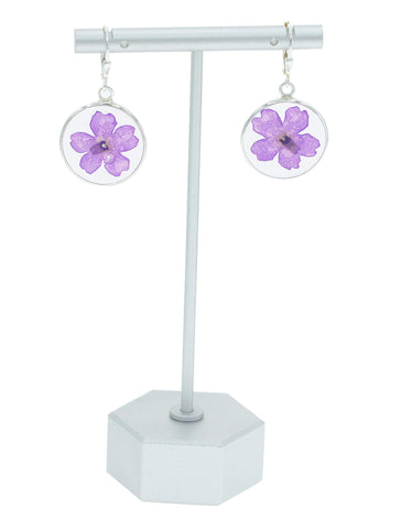 Purple Petunia Flower Earrings - BG8