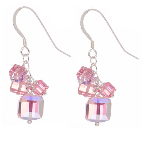 Rose Pink 4 Swarovski Crystal Cube Earrings