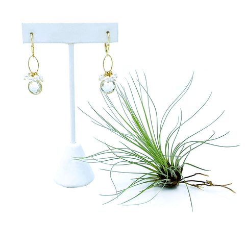 Bezel Quartz Charm Earrings