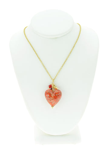 Red Aventurina Venetian Glass Heart Necklace