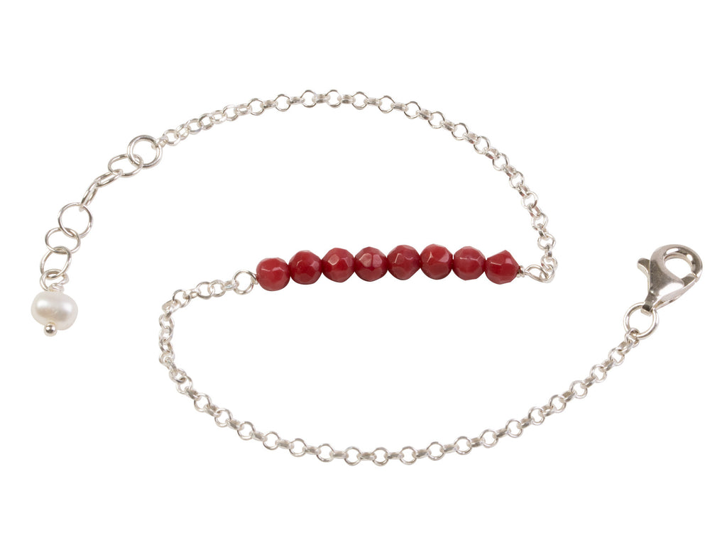 Red coral nugget bracelet
