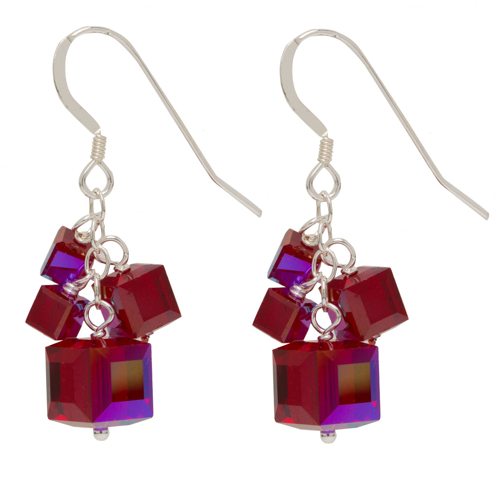 Ruby Red 4 Swarovski Crystal Cube Earrings