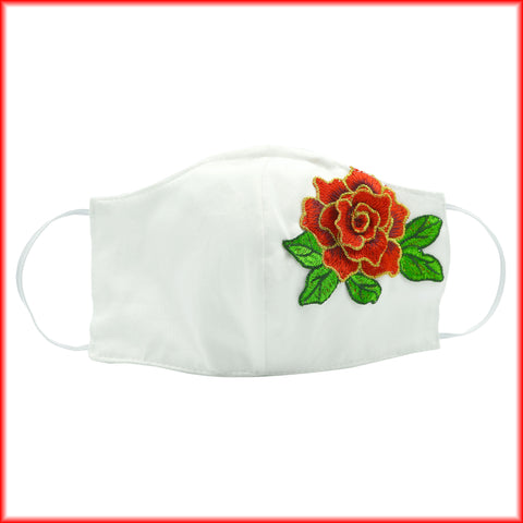 Red Rose Face Mask With Filter and Nose Wire