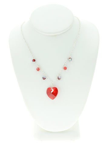 Red Crystal Heart Charm Necklace