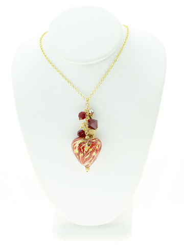 Red Ca D'Oro Venetian Glass Heart Necklace